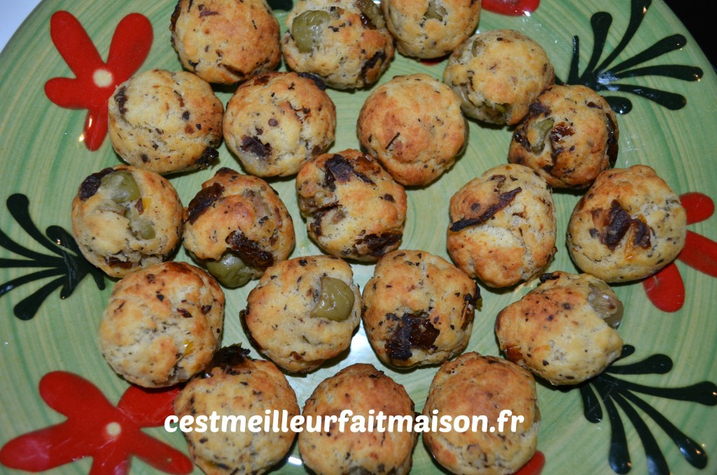 Minis cookies salées tomates séchées olives vertes