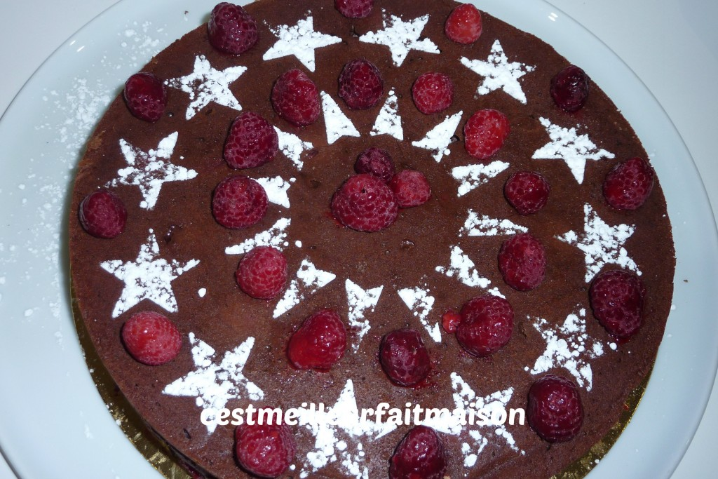Crousti-fondant au chocolat et aux framboises