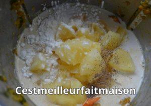 Cari de crevettes courgette ananas