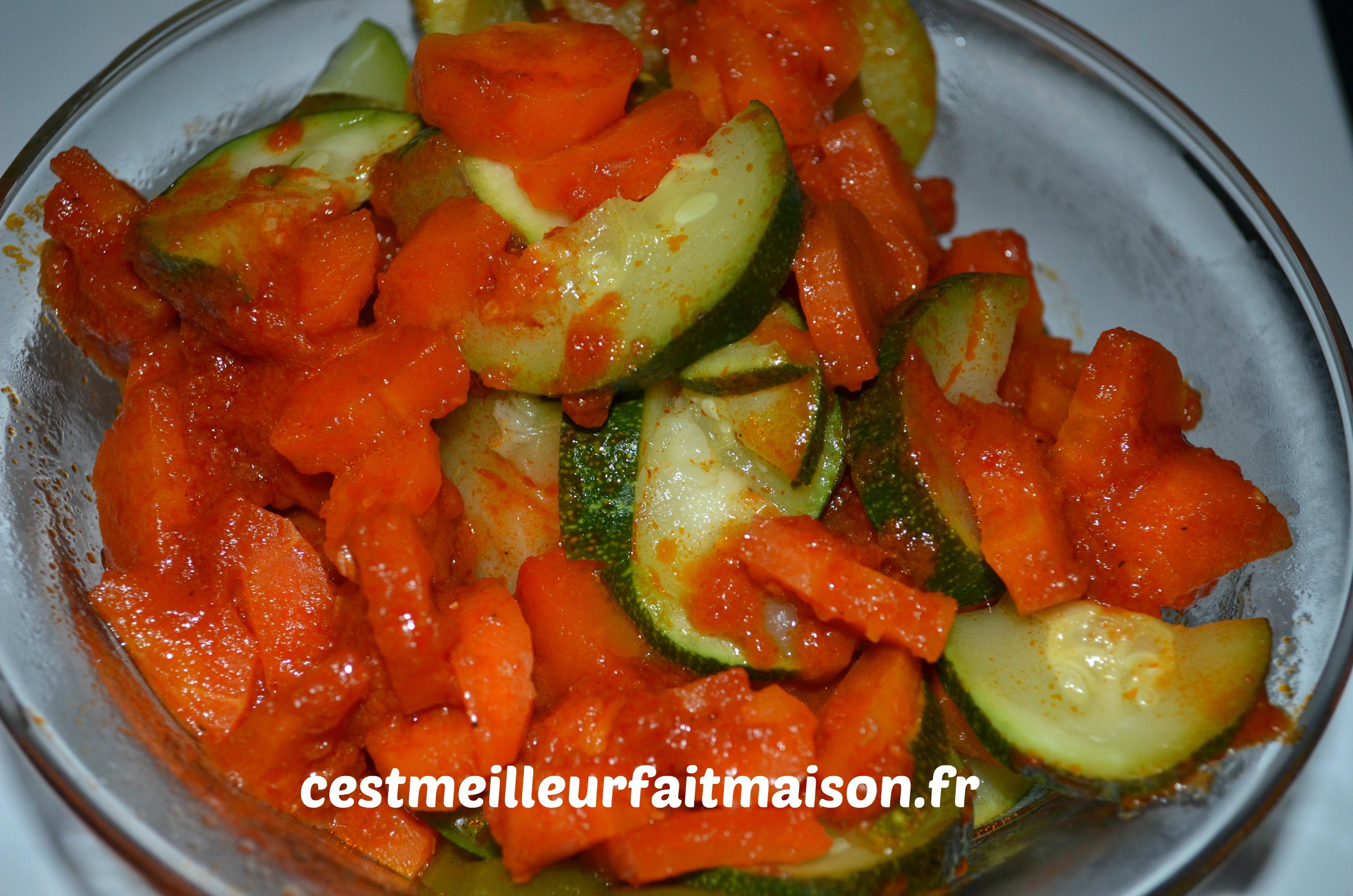 Poulet mariné aux légumes