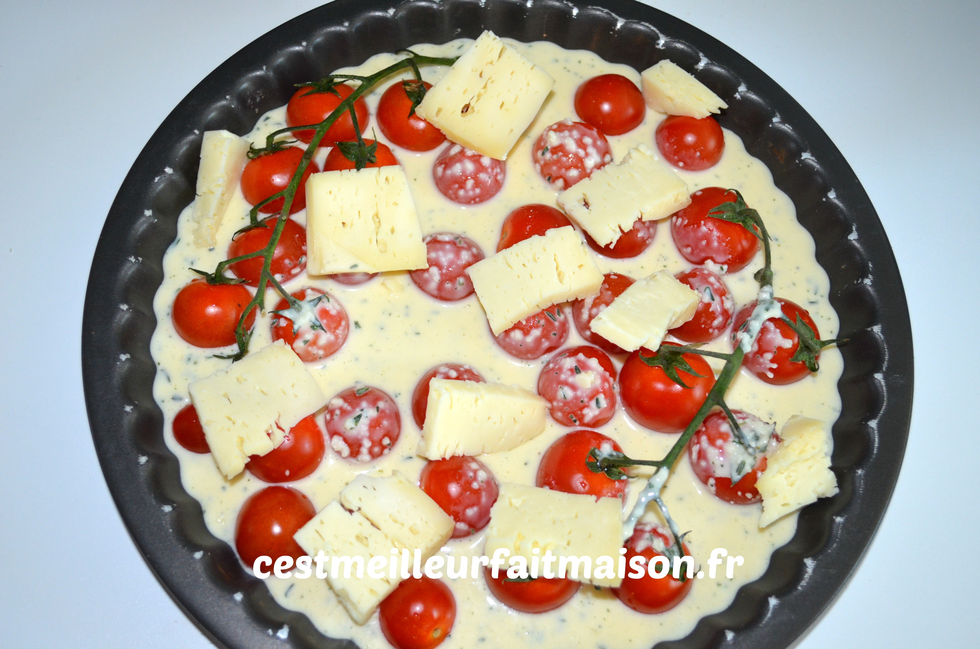 Clafoutis aux tomates cerises