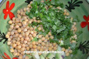 Salade de pois chiches à l'avocat et au concombre